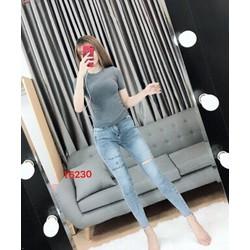 Quần jeans dài rách đùi