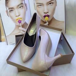 Giày cao gót nữ bít  mũi, cổ xéo cao 7cm
