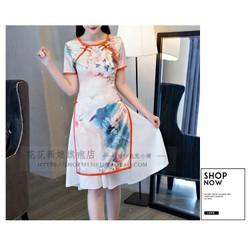 Set áo sườn xám in họa tiết kèm váy