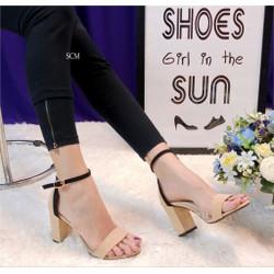 Giày gót vuông da lộn viền màu