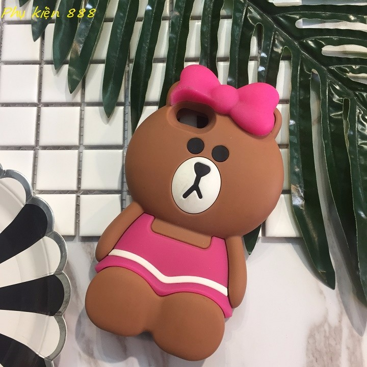 Ốp lưng Iphone 5,5s gấu quấn nơ hồng 7