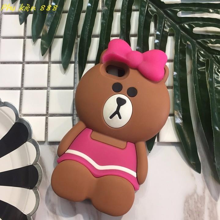 Ốp lưng Iphone 5,5s gấu quấn nơ hồng 3