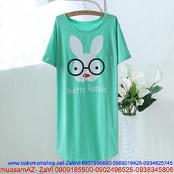 Đầm ngủ thun form dài in hình thỏ đeo kính rất dễ thương