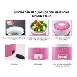 Hộp cơm hâm nóng cắm điện Inox đa năng 3 tầng Meiyun hồng