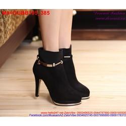 Giày boot nữ da lộn phối viền sắt vàng phong cách
