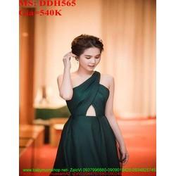 Đầm maxi kiểu lệch vai khoét bụng thời trang và sang trọng