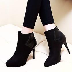 Giày boot nữ cổ ngắn cao gót mũi nhọn sành điệu GBN167