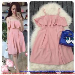 Đầm xòe 2 dây phối bèo sành điệu màu hồng dễ thương