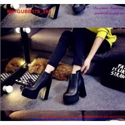 Giày boot nữ gót cao phối khóa kéo đơn giản sang trọng