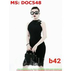View  Đầm ôm công sở cổ yếm phối ren sành điệu DOC548