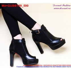 Giày boot cao gót da nữ hở mũi phối khóa nổi bật GUBB199