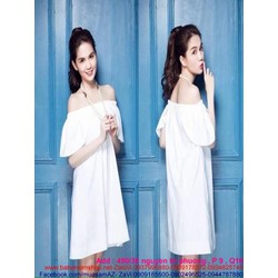 Đầm suông trắng thiết kế bẹt vai xinh đẹp như ngọc trinh