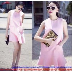 Đầm suông đuôi cá 2 túi thiết kế đơn giản màu hồng dễ thương