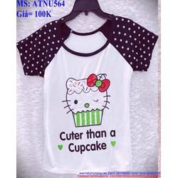 Áo thun nữ ngắn tay chấm bi hình bánh mèo kitty ATNU564