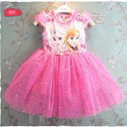 Đầm công chúa Elsa kim sa xoè 3 lớp Màu hồng