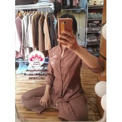 Bộ quần áo Phật tử đi chùa cổ tàu - ao lam phat tu di chua dep