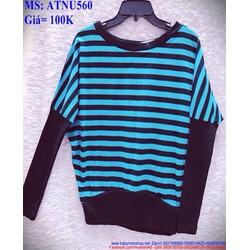 Áo thun nữ dài tay sọc xanh đen phối màu đẹp cá tính ATNU560