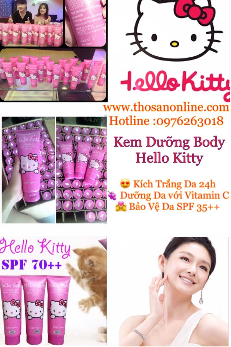 KEM DƯỠNG BODY TRẮNG DA HELLO KITTY SPF70++ CHÍNH HÃNG 4