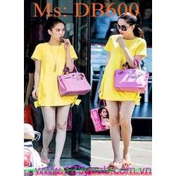 Đầm bầu tay con dạo phố đính nơ 2 bên sành điệu thời trang DB600