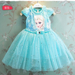 Đầm công chúa Elsa Kim sa xoè 3 lớp - màu xanh