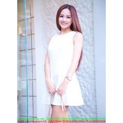 Đầm suông trắng phối đuôi cá xinh đẹp trẻ trung