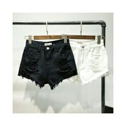 Short jeans rách trắng đen