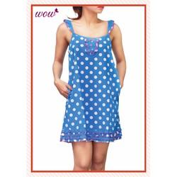 Đầm ngủ Wow 1405 xanh chấm bi