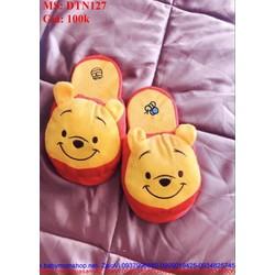 Dép bông mang trong nhà hình chú gấu pooh dễ thương DTN127