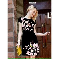 Đầm công sở tay con họa tiết hoa Lan quyến rũ sang trọng
