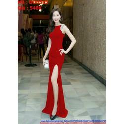 Đầm dạ hội sát nách đỏ xẻ đùi đính hạt sang trọng DDH545