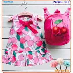 Đầm cherry kèm balo lô xinh xắn cho bé đến trường