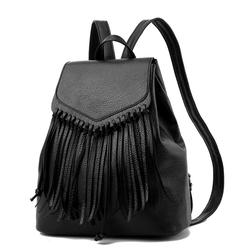 Balo da nữ mềm đen tua rua cá tính thời trang – 493