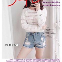Quần short jean nữ lưng cao wash rách sành điệu