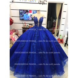 áo cưới xanh ren 3d nổi