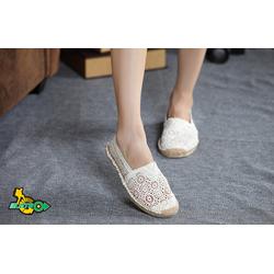 Giày lười nữ hoa lưới trắng đen