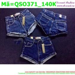 Quần short jean nữ ngắn cuộn lai