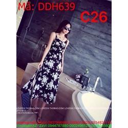 Đầm maxi biển 2 dây hoa trắng trẻ trung và sành điệu DDH639