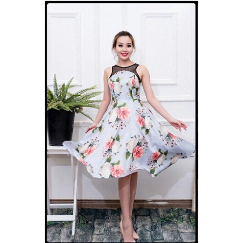 Đầm Xòe Vintage In Hoa 3D Phối Lưới Cao Cấp