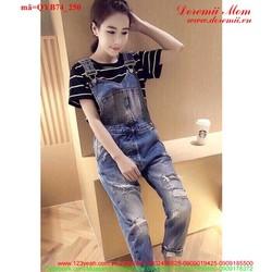 Quần yếm jean dài rách bụi sành điệu đáng iu