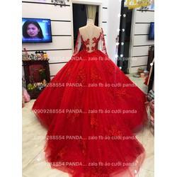 áo cưới tay dài đỏ ren