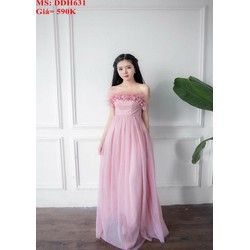 Đầm dự tiệc cúp ngực phối ren hoa màu hồng dễ thương