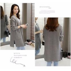 403-1 hàng nhập áo len nữ dáng dài sọc ngang