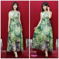 Đầm maxi xanh eo
