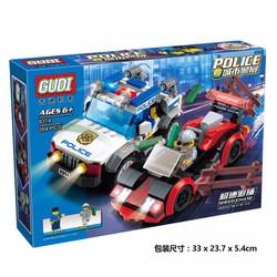 Bộ xếp hình Gudi 9314 Truy đuổi tốc độ - 264 chi tiết