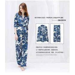 Bộ đồ ngủ pijama phi lụa hàng xuất khẩu - B901