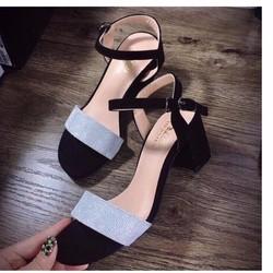giày gót vuông quai ngang nhũ ánh kim