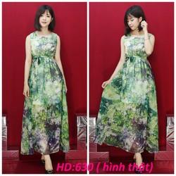 Đầm maxi họa tiết hoa lá cao cấp