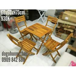 Bàn ghế gỗ xếp 60x60xH73cm