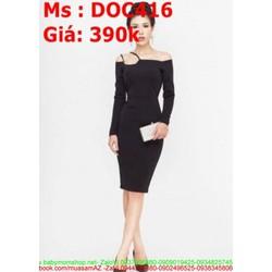 Đầm body dự tiệc bẹt vai ngang dài tay sang trọng DOC416