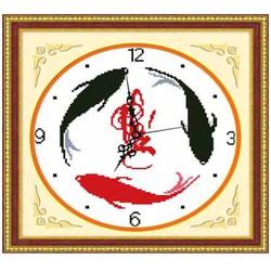 Tranh thêu đồng hồ cá - chưa thêu - 36 x 36 cm